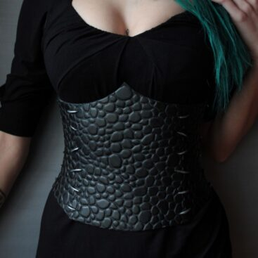 black leather dragon corset