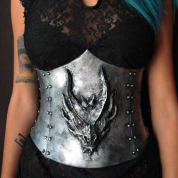 fantasy underbust corset with dragon head